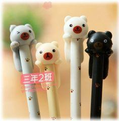US 4pcs Cute Kawaii Fun Black Ink Ball Point Pen Pencil Bear Lovely Gel Korean   eBay