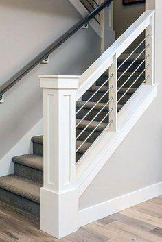 Modern Stair Railing, Stair Railing Design, Staircase Railings, Banisters, Stairways, Stair Case Railing Ideas, Stairway Railing Ideas, Indoor Railing, Stair Spindles