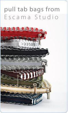 PopTopBags.com  Who knew you could make so many things with pop tops? This site is cool!