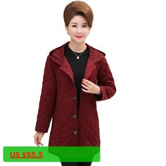 WAEOLSA Woman Hooded Jackets Burgundy Blue Gray Coats Middle Aged Women Casual Hood Coats Plus Size Outerwear Mother Clothings