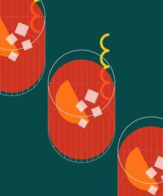Aperitivo Hour: 7 Excellent Campari Alternatives for Your Next Negroni Campari Spritz, Vintage Cocktails, Food Graphic Design, Murals Street Art, Retro Art, Food Illustrations, Graphic Illustration, Branding Design, Drawings