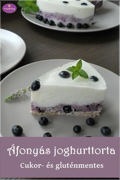 Áfonyás joghurttorta - Cukor- és gluténmentes torta Crossfit Diet, Healthy Snacks, Healthy Recipes, Hungarian Recipes, Gluten Free Recipes, Food To Make, Cake Recipes, Good Food, Food And Drink