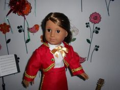 Mariachi charra suit traje red gabardine gold trim for American Girl doll or similar 18 in handmade Mariachi Suit, Line Jackets, Lace Up Boots, American Girl, Dress Up, Suits, Red, Cotton, Etsy