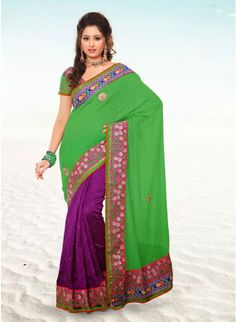 Sparkling Lime Green & Violet Embroidered #Saree #clothing #fashion #womenwear #womenapparel #ethnicwear