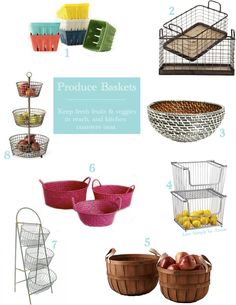 Storage Baskets For Fresh Fruits and Veggies // Live Simply by Annie. These seem pricey, but done cool ideas. How To Store Tomatoes, How To Store Garlic, Kitchen Organisation, Organization Hacks, Organization Ideas, Storage Baskets, Food Storage, Wire Storage, Wire Baskets