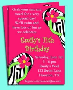 Hot Pink Zebra flip flop invitation fro pool party or spa birthday
