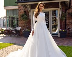 Women's Shoes | Etsy Wedding Dress Necklines, Maxi Dress Wedding, Wedding Dresses Photos, Wedding Dress Sleeves, Long Wedding Dresses, Gown Wedding, Lace Wedding, Modest Wedding, Dress Lace