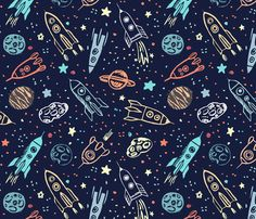 Space voyage fabric by yuliussdesign_com on Spoonflower - custom fabric