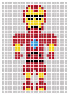 Avengers Pixel Art Template Iron man