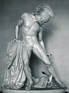 Achille ferito [Wounded Achilles], 1842.  By Innocenzo Fraccaroli (Italian, 1805-1882), Carrara marble, 192 x 153 x 87.  In Galleria d'Arte Moderna, Villa Reale, Milan.
