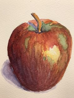 #watercolor #apple #painting