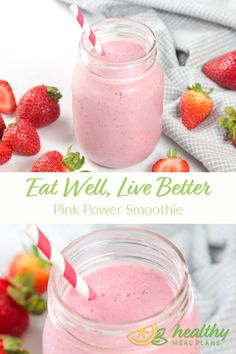 This Pink Power Smoothie is packed full of your favourite red berries. Its bright colour is a fun way to start your day! Power Smoothie, Juice Smoothie, Smoothies, Pescatarian Recipes, Vegetarian Recipes, Whole Food Recipes, Family Recipes, Free Recipes, Yummy Smoothie Recipes