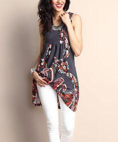 Love this Charcoal Swirl Sleeveless Empire-Waist Tunic Dress on #zulily! #zulilyfinds