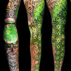 beautiful green maya tattoo @neotattoos time machine crystals pattern
