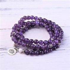 """Gemstones: Grade """"A"""" Amethyst Stone Size: 8 mm Mala Length: 35 inches & inches This bundle features: Amethyst Crown Chakra Mala Amethyst Crown Chakra Bracelet Chakra Bracelet, Chakra Meditation, Crown Chakra, Amethyst Stone, Gemstone Jewelry, Gemstones, Pearls, Pendant, Purple"""