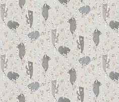 Birch Bears SMALL (latte) fabric by nouveau_bohemian on Spoonflower - custom fabric