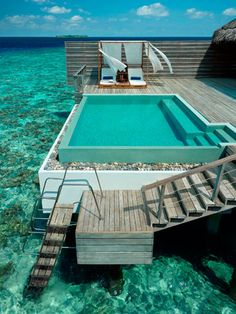 dreaming of a Maldives escape right about now [ Dusit Thani Hotel, Maldives.] water, swimming pools, heaven, dream, beach houses, the ocean, resort, travel, place