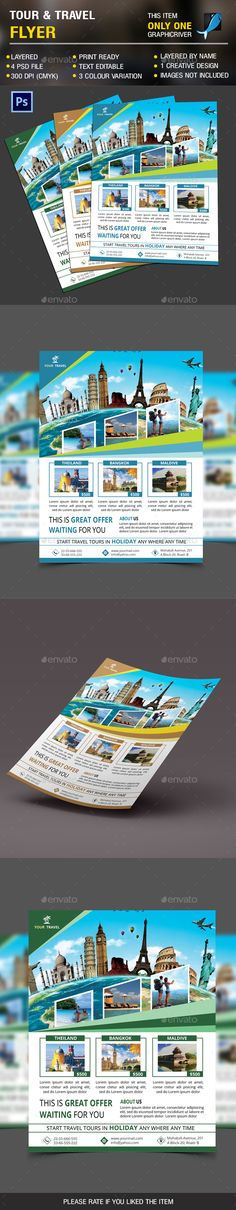 Holiday Travel Flyer Template PSD #design Download: http://graphicriver.net/item/holiday-travel-flyer-vol-2/14314544?ref=ksioks