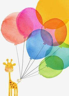 Art, illustration, hand lettering, design, murals and more. Balloon Illustration, Cute Illustration, Art Illustrations, Giraffe Illustration, Ed Wallpaper, Birthday Greetings, Birthday Cards, Pinterest Pinturas, Happy B Day