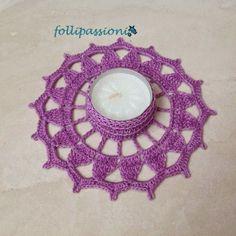 portacandela uncinetto realizzato a crochet con cotone 100% di color lilla, portacandela crochet, candlestick crochet, crochet candle holder,  uncinetto schemi gratis