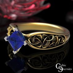 Celtic Gold Sapphire Engagement Ring Sapphire Solitaire Ring | Etsy Celtic Knot Ring, Celtic Rings, Platinum Wedding Rings, Gold Wedding Rings, Mens Celtic Wedding Bands, Celtic Engagement Rings, Sapphire Solitaire Ring, Thing 1, Princess Cut