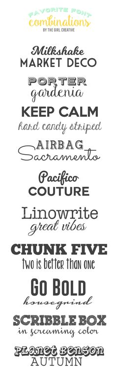 Favorite Font Combinations - Fonts, fonts and more fonts! This is a collection of my favorite font combinations and they are all FREE!                                                                                                                                                                                 More