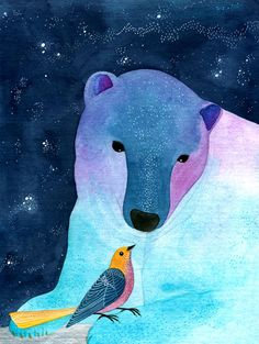 """Bear & Bird"" Watercolor Illustration    Artist: Geninne    Shop        Geninne      Geninne's Art Store  Site: Etsy"