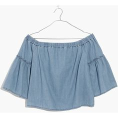MADEWELL Denim Azalea Off-the-Shoulder Top ($72) ❤ liked on Polyvore featuring tops, kingston wash, blue top, flared sleeve top, denim off the shoulder top, off shoulder denim top and madewell