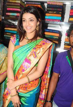 Saree Blouse Designs: South Indian Actress & Model Kajal Agarwal in Saree Ethnic Sarees, Indian Sarees, Traditional Sarees, Traditional Outfits, Indian Attire, Indian Wear, Indian Dresses, Indian Outfits, Kajal Agarwal Saree