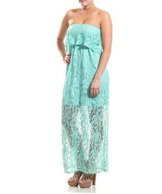 This Coveted Clothing Mint Rose Lace Strapless Maxi Dress by Coveted Clothing is perfect! #zulilyfinds