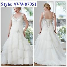 Aline Plus size Beaded sash bridal gown#2212