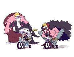 Trafalgar D. Water Law, Donquixote Doflamingo, and Donquixote Rocinante (Corazon) (Corasan, Cora-san) One Piece