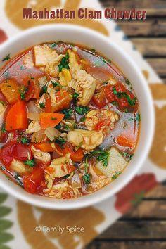 Hearty & Healthy Manhattan Clam Chowder by FamilySpice.com