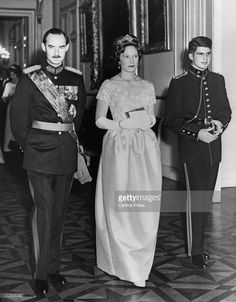 Jean, Grand Duke of Luxembourg (left) with his wife Princess Josephine Charlotte of Belgium (1927 - 2005) accompanied by Prince Alexander of Belgium (1942 - 2009) attend a banquet given by the Belgian government at the Royal Palace of Brussels, 14th December 1960. The banquet is taking place for the guests who will be attending the wedding of King Baudouin of Belgium and Dona Fabiola de Mora y Aragon the following day.