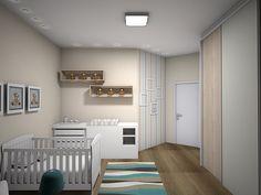 O Quarto do bebê. A proposta foi fazer um quarto prático para a mamãe e calmo para o bebê. Tendo um móvel (cômoda) com a banheira embutida e o trocador, sobre ela, para dar praticidade.