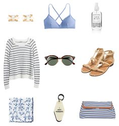 just a few things on my summer wish list! i clearly can't get enough of  blue and white. also i totally need that key fob.  melissa joy manning opal earrings / j.crew french cross-back bikini top herbivore sea mist / madewell stripe sweater / ray-ban club round  sunglasses carrie forbes raffia sandals / floral scarf / key tag / clare v. pierlot  clutch  JavaScript is currently disabled in this browser. Reactivate it to view  this content.