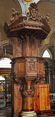Santa Maria dell Aracoeli, Rome.  A finely carved wooden pulpit thought to have been designed by Bernini.