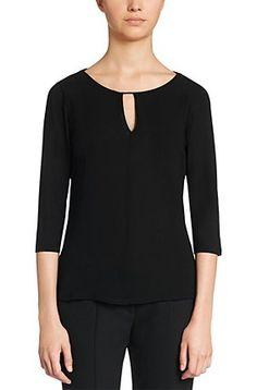 Shirt aus Stretch-Viskose mit Chiffon-Besatz: 'Difela', Schwarz
