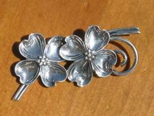 Vintage Beau Sterling Silver Dogwood Pin from WhimsicalVintage on Ruby Lane