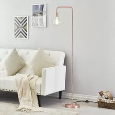 Hashtag Home Campanella Arched Floor Lamp Base Color: Brushed Copper Tree Floor Lamp, Swing Arm Floor Lamp, Floor Lamp Base, Arc Floor Lamps, Copper Floor Lamp, Traditional Floor Lamps, Torchiere Floor Lamp, Pipe Lamp, Fabric Shades