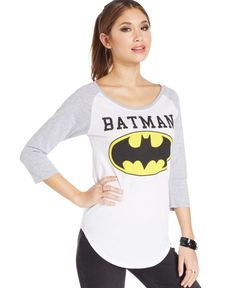 Juniors' Raglan-Sleeve Batman Tee by Bioworld - Found on HeartThis.com @HeartThis