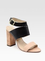 Leather Colorblock Sandals by Elizabeth and James: $295. #Sandals #Colorblock #Elizabeth_and_James