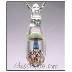 SALE  Mushroom Pendant Lampwork Focal glass bead  by GlassPeace, $8.86