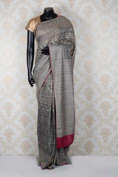 Beige & black pure tussar silk mindblowing saree with magenta border -SR13921