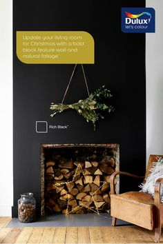 Need some festive inspiration? Paint your fireplace black and decorate with natural foliage for a classic festive feel.
