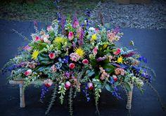 Spring Casket Spray Designed by Max's Flower Shop Casket Flowers, Grave Flowers, Cemetery Flowers, Church Flowers, Funeral Flowers, Flowers For Mom, Pink Flowers, Funeral Floral Arrangements, Funeral Sprays