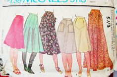Vintage skirt pattern in four styles and two lengths 1976