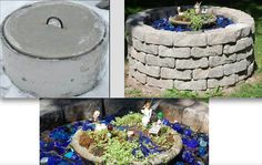 Have an ugly septic system riser sticking out of the ground?  DIY & turn it into a beautiful fairy garden wishing well with blue #glassmulch!  Available from www.closetheloop.com