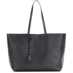Saint Laurent Large Shopping Leather Shopper (€1.030) ❤ liked on Polyvore featuring bags, handbags, tote bags, black, genuine leather tote bag, genuine leather tote, real leather purses, yves saint laurent purse and leather shopper tote