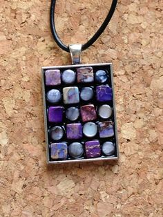 Purple and Black Beaded Mosaic Necklace